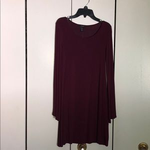 Plum long dress with bell sleeves